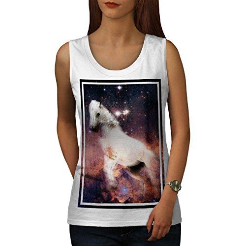 Pferd Kosmos Galaxis Platz Traum Reiten Damen S-2XL Muskelshirt | Wellcoda Weiß