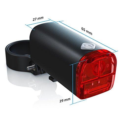 CSL - LED Fahrradbeleuchtung Set StVZO zugelassen | Fahrradlicht / Fahrradlampe / Fahrradleuchte | inkl. Front- und Rücklicht | 1x Lichtstärke-Modus | energiesparend | stoßfest - 3
