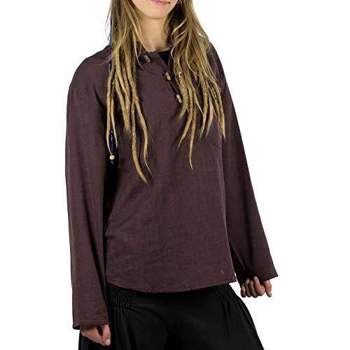 KUNST UND MAGIE Damen Fischerhemd im Set mit stylischem Haarband bequemer Schnitt Klassische Farben in verschiedenen Größen, Größe:M, Farbe:Schokobraun