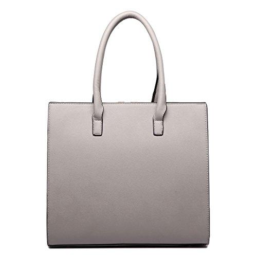 Miss Lulu Damen V Form Leder Handtasche Schultertasche Kunstleder Taschen 1666 Grau