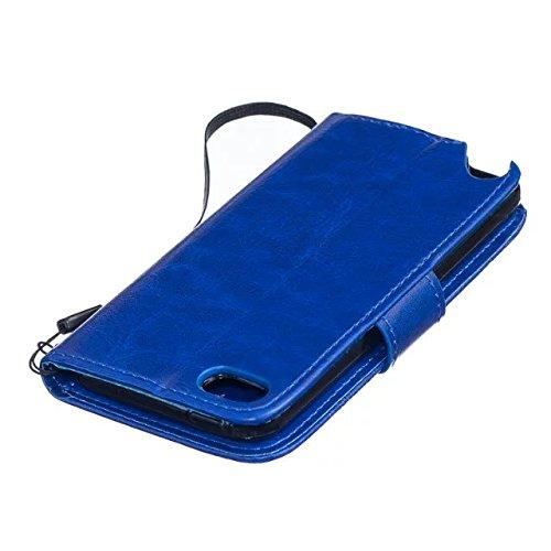 iPhone Case Cover Haute Housse en cuir Premium Quality PU Cover Solid Color Dandelion gaufrage Wallet Support Housse pour iPod Touch5 6 ( Color : Black , Size : IPod Touch5 6 ) Blue