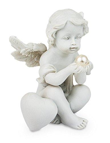 Impressionata Deko Figur Schutzengel Baby Engel mit Herz Perle sitzend aus Polystein Weiß, 7 cm, Dekofigur Dekoengel Engelfigur, Figur:B, Figur:C -