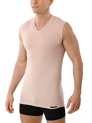 Albert Kreuz V-Unterhemd unsichtbar Business Herrenunterhemd aus Stretch-Baumwolle ohne Arm Hautfarbe Nude 7/XL - Für Unterhemden Männer ärmellose