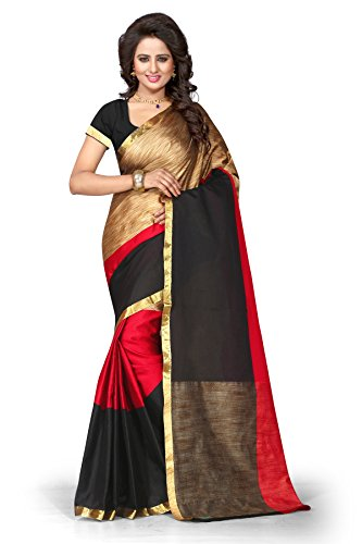 Vatsla Enterprise Women\'s Cotton Saree (VTSENAT002RED_RED)
