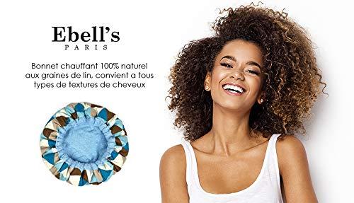 Ebell's, Bonnet Chauffant, pour Soins Capillaires, Micro-ondable, Sans fil, 100% coton, aux graines de lin, réversible, chaleur longue du