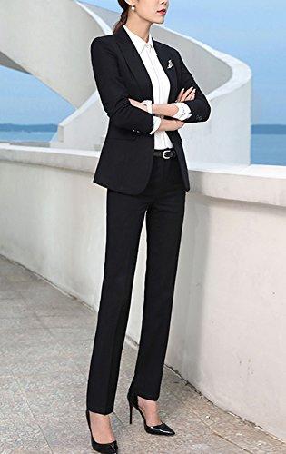 SK Studio Femmes Blazer Tailleurs Pantalons De Bureau 2 Pièces Revers Casual Costume Manteau Noir Blazer +Pantalon