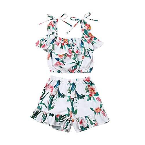 WANGSAURA 2 Pcs Baby Mädchen Kleider Set Schulterfrei Blume Blätter Print Top Shorts Sommer Spielanzug Rüschen Outfits Kleinkind Kleidung (120 für 4~5 Jahre alt) - Alt Puppen Für Fünf Jahr