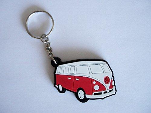 Llavero de goma de furgoneta VW Combi, color rojo