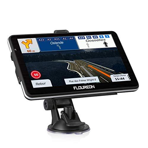 FLOUREON GPS de Voiture 7 Pouces, GPS Navigation Auto 8G LCD à Ecran Tactile Système de Navigation Automatique Cartographie Plan Européen Angleterre Gratuit 8Go Intégré Support Carte TF