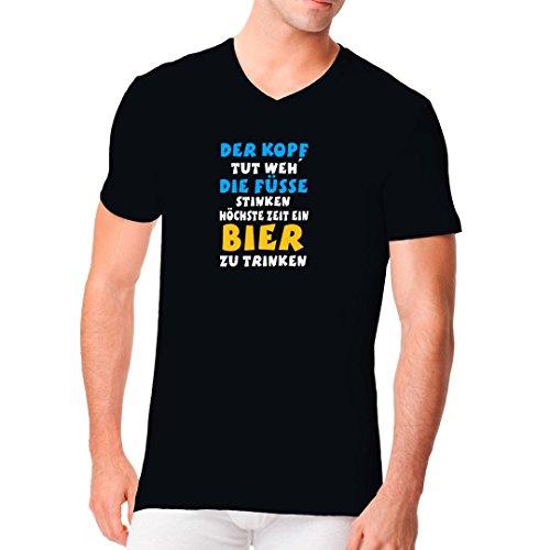 Fun Sprüche Männer V-Neck Shirt - Kopf Tut Weh by Im-Shirt Schwarz