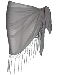 Plain Half Grey Cotton Sarong With Tassels & Beads