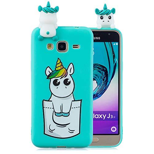 Leton Cover per Samsung Galaxy J3 2016 Unicorno Silicone 3D Verde Morbido TPU Gel Custodia Samsung Galaxy J3 2016 Antiurto Flessibile Gomma Case Protettiva Bumper Candy Copertura 3D Papa