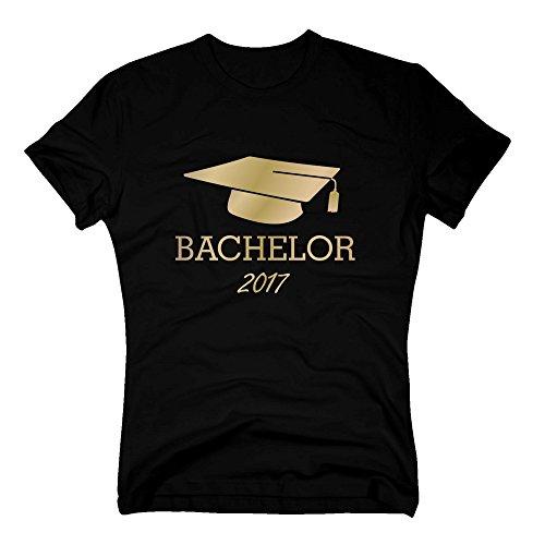 Shirtdepartment T-Shirt Abschluss Bachelor 2017 – Doktorhut Student Study Universität Uni, L, Schwarz-Gold