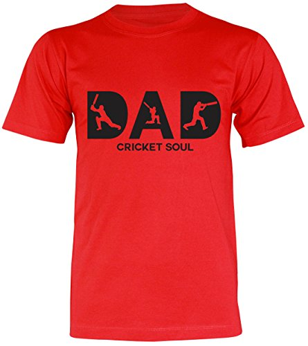 PALLAS Unisex's Dad Cricket Soul Gift Funny T-Shirt Red