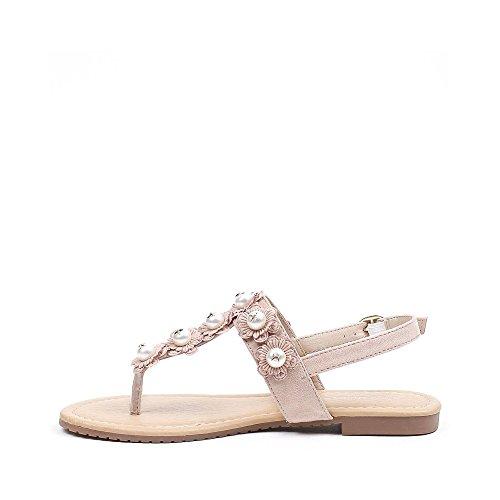 Ideal Shoes Sandales Plates Effet Daim et Incrustées de Fleurs et Perles Fiorella Rose