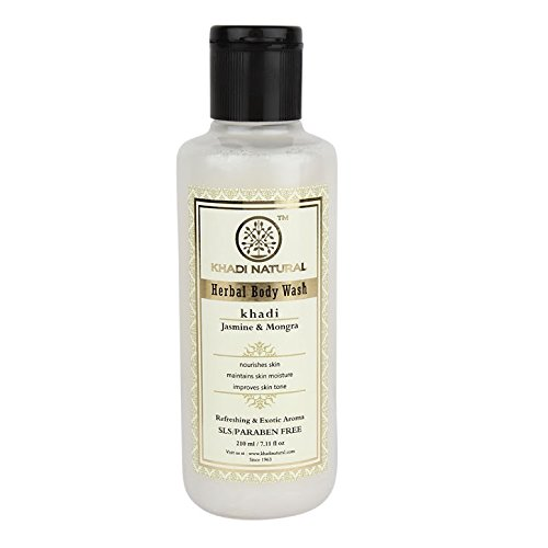 Khadi Herbal Body Wash Shower Gel Jasmine & Morga Mogra Refreshing & Exotic Aroma (SLS & PARABEN FREE) 210ml / 7.10 fl oz. *Ship from UK (Herbal Gel Body Wash)