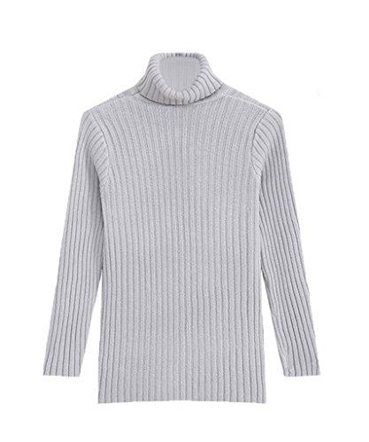 Bigood Sweater Col Haut Femme Pull Uni Manches Longues Chic Gris