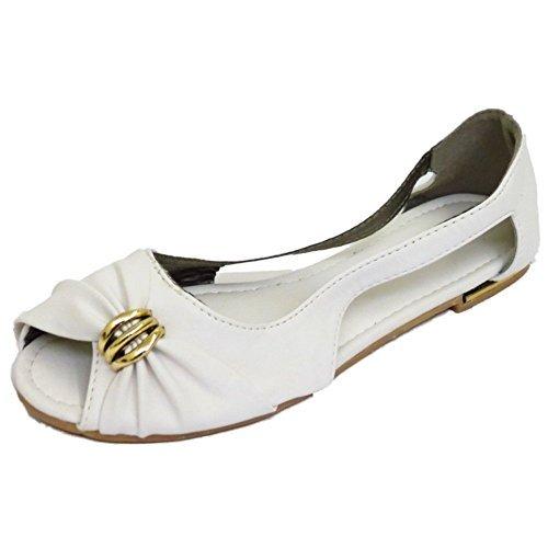 Damen Flache Weiße Zum Reinschlüpfen Peep-Toe Ballerinas Pumps Puppe Sommer Schuhe Größen 3-7 - Weiß, 6 UK/39 EU (Ballerina Peep-toe)