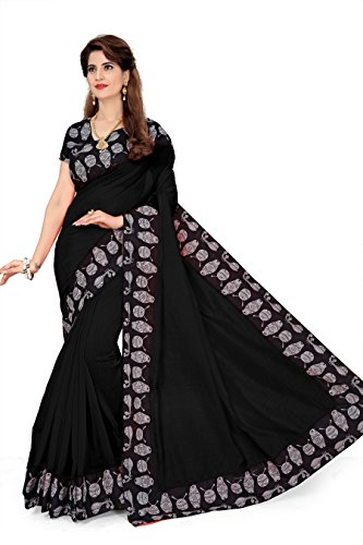 Febo Fashion Women's Chanderi Cotton Kalamkari Sari, Free Size(Black)