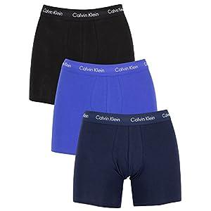 41sEOQTm1NL. SS300  - Calvin Klein de los Hombres Pack de 3 Calzoncillos de algodón elásticos, Azul
