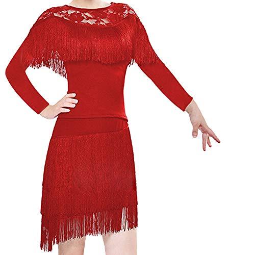 Kostüm Ballroom Strictly - GOWE Latin Rock Damen Lyrischen - Zeitgenössische Salsa Cha Cha Tango Ballsaal Rumba Spitzen Quaste Kleid für Mädchen, Rot#2/140cm