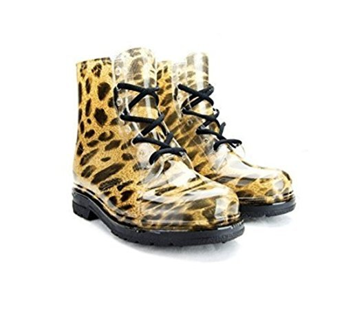 The Chemistry Brand Chemistry Water Proof Round Toe Ankle High Jelly Warm Snow Rain Boots Yellow Leopard