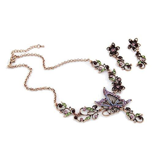 Sunnywill Damen Halskette Kette Choker Anhänger Vintage Schmetterling Halskette Anweisung Ohrringe Schmuck-Set - 2