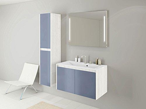 Badmöbel-Set Kabru - 90 cm Breit - mit Glasfronten Taubenblau - Badezimmermöbel Waschtisch mit Unterschrank Spiegel mit Beleuchtung und Hochschrank Sieper Jokey