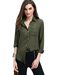 24d5c1867 POISON IVY Women s Casual Long Sleeves Olive Green Shirt