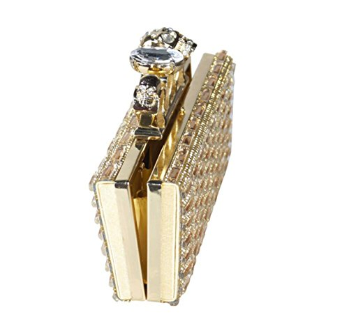 GSHGA Womens Clutch Taschen Square Style Schädel Kopf Glas Diamant Kleine Quadratische Tasche,Gold Gold