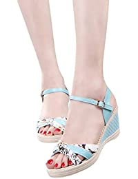 f18aaf7fcfb3 Familizo 2018 Beautiful Ladies Casual Floral Wedges Shoes Summer Platform  Toe High-Heeled Rubber Buckle Strap Shoes Fashion Slippers…