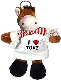 Caballo de peluche (llavero) con Amo Tove en la camiseta (nombre de pila/apellido/apodo)