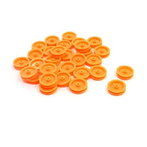 Water & Wood 30 Pcs 2mm Hole Orange Plastic Belt Pulley for DIY RC Toy Car Airplane