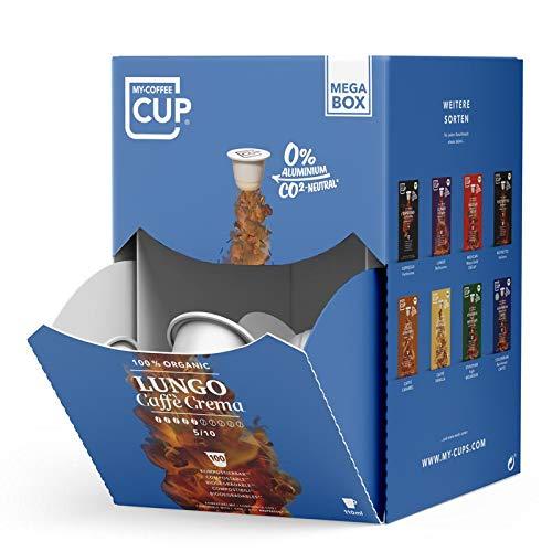 MEGA BOX - 100 BIO-Kaffeekapseln von My-CoffeeCup | Kompatibel mit Nespresso®*-Maschinen | 100 % kompostierbare Kapseln, CO₂-neutral und ohne Alu (Lungo Caffè Crema, 100 Kapseln)