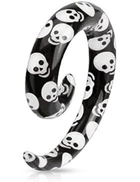 Paula & Fritz® 1x Spiral Expander Taper Dehnstab Skull Totenkopf verfügbar 3 1...