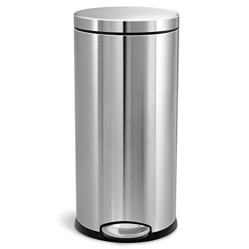 simplehuman 30 Liter, runder Treteimer, fingerabdrucksicherer gebürsteter Edelstahl, 38.4 x 31.5 x 65 cm