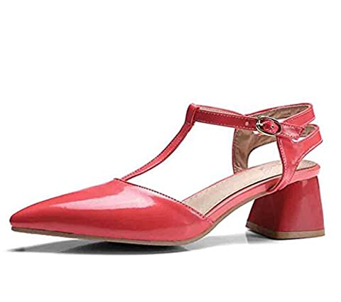 Aisun Women's Patent T-Strap Buckle Pointed Toe Mid Block Heel Slingback Sandals Red 5.5 UK