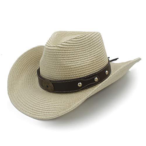 JJJRMP Frauen Männer Stroh Western Cowboy Hut Sommer Sun Hut Für Dame Gentleman Sombrero Hombre Strand Sun Cowgirl Hut