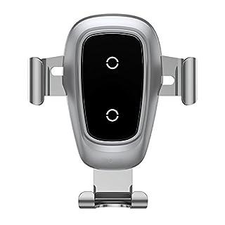 Schnelles Wireless Charger Auto Drahtlos ladegerät,QI Drahtlos Schnellladestation, für iPhone 8/8 Plus/iPhone X, Samsung Galaxy Note8/S8/S8Plus/S7/S7Edge/S6Edge Plus/Note5 Alles Qi (Glas Silber)