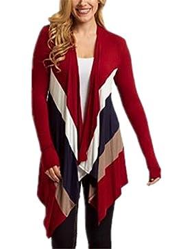 BESTHOO Camicetta Donna T Shirt Vintage Manica Lunga Tops Eleganti Lunga Cardigan In Maglia Basic Primavera Orlo...
