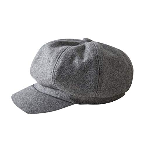 Nowear Frauen Winter Herbst warme wollene Retro Octagonal Hut Maler Beret Ballon- Stil Flatcap Künstler-Hut