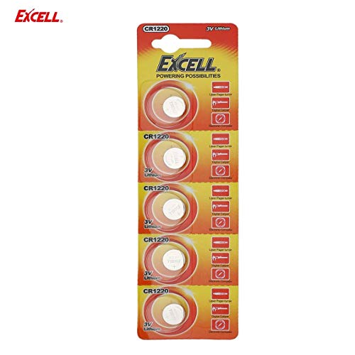 ForceSthrength 5pcs EXCELL 3V Lithium Button Cell CR1220 for Laser Paper-Turner&Digital Caliper -