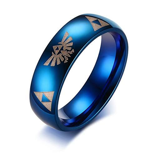 Holz Männliche Elf Kostüm - Herren Ring,Männer Laser Gravur Ring Legende Von Zelda Kostüm Blau Für Männer Persönlichkeit Edelstahl Hochzeit Band Männlichen Schmuck, 11.