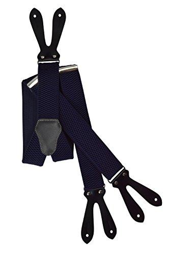 Olata unisex bretelle regolabili con vera pelle asole, 4cm larghezza - blu marina