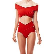 Gwell Maillots de Bain Femme Élégant Dames Ensemble Bikini Rouge Bandage Soutien-gorge Rembourré