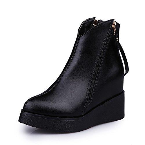 HSXZ Scarpe donna similpelle Inverno Primavera la moda Stivali Stivali Liane Punta Babbucce/Stivaletti vestite di nero Casual Black