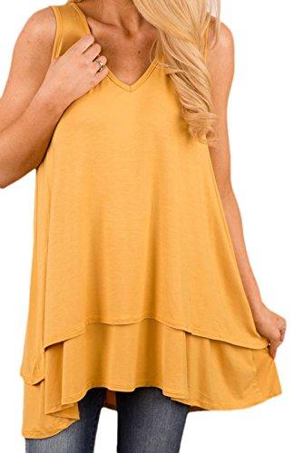 Frieda Fashion - Damen asymetrisches Layer Shirt, Club Long-Top, XL, Gelb