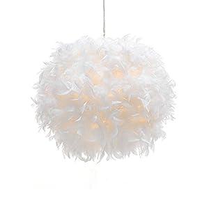 WanEway Weißer Feder Decken Anhänger Lampenschirm, nicht-elektrischer Lampenschirm für Bodenlampe und Tischlampe mit Schatten Reduzierring für Wohnzimmer, Esszimmer, Schlafzimmer, 40cm