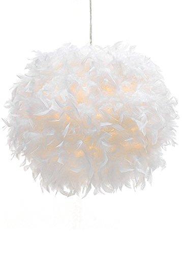 WanEway Weißer Feder Decken Anhänger Lampenschirm, nicht-elektrischer Lampenschirm für Bodenlampe und Tischlampe mit Schatten Reduzierring für Wohnzimmer, Esszimmer, Schlafzimmer, 30cm