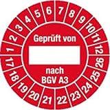 Prüfplaketten Geprüft von nach BGV A3 2017 - 2026 Ölig Ø 3 cm 100 Stück
